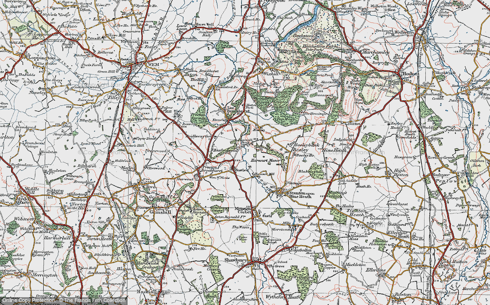 Old Map of Historic Map covering Besford Wood in 1921