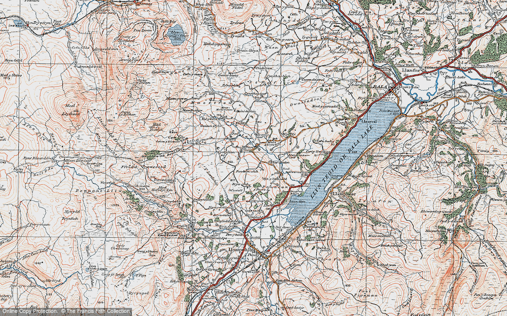 Old Map of Historic Map covering Afon Dylo in 1921
