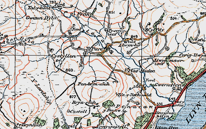 Old map of Afon Dylo in 1921