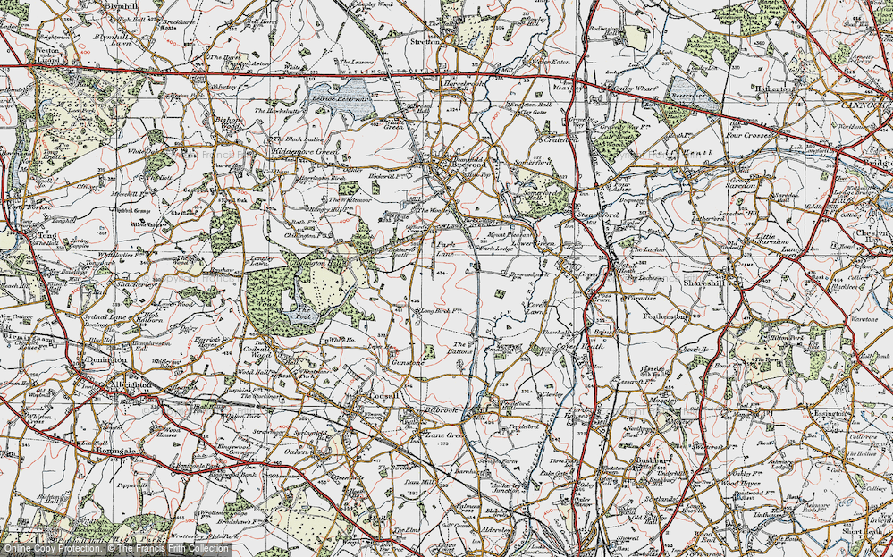 Old Map of Historic Map covering Ackbury Heath in 1921