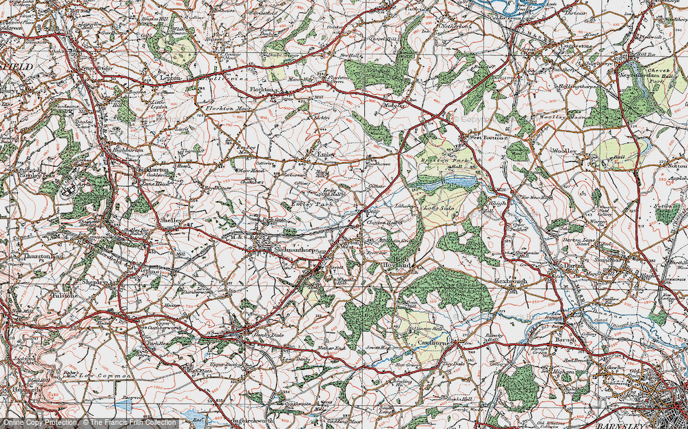 Old Map of Historic Map covering White Cross in 1924