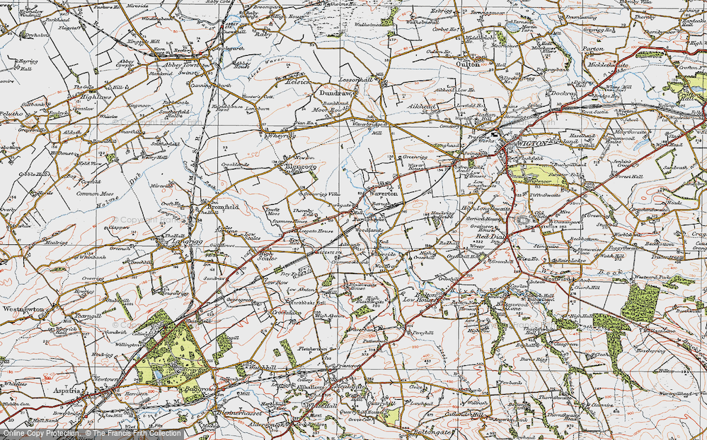 Old Map of Historic Map covering Aikbank in 1925
