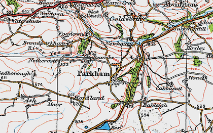 Old map of Parkham in 1919