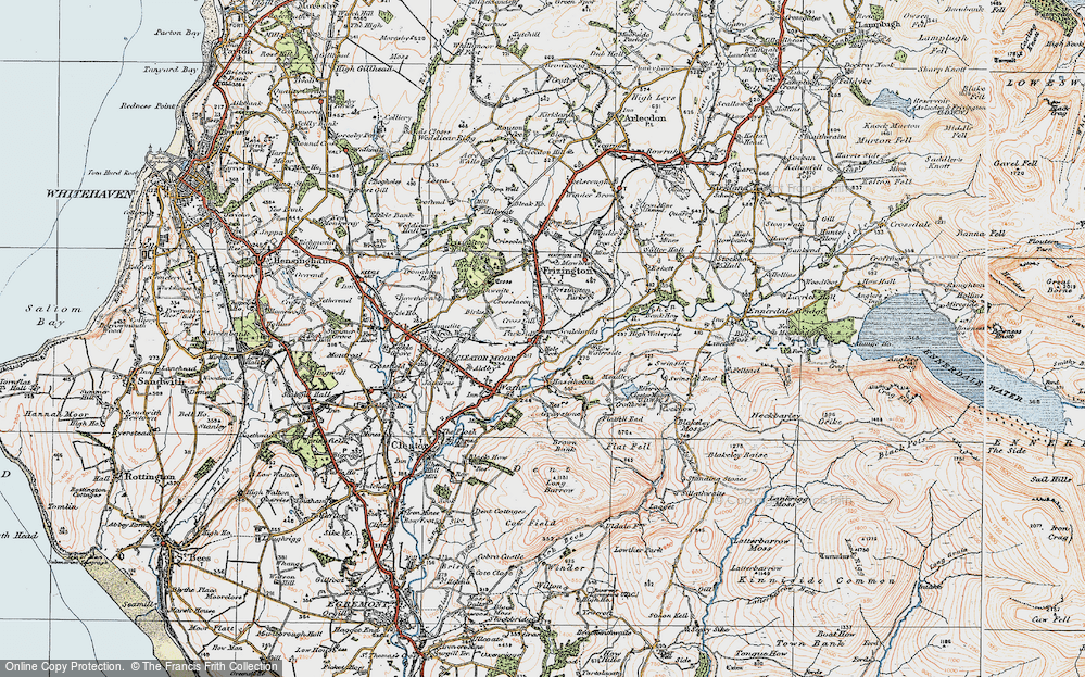 Old Map of Historic Map covering Lingla Beck in 1925