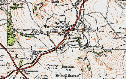 Old map of Parracombe in 1919