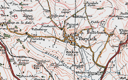 Old map of Parwich in 1923