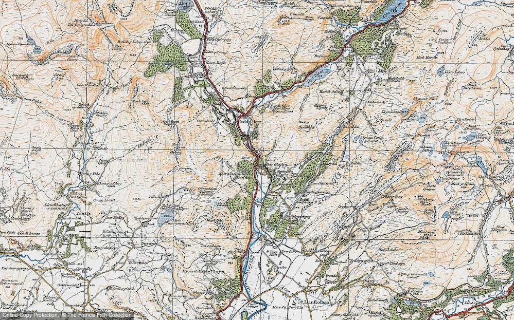 Old Map of Historic Map covering Aberglaslyn Hall in 1922