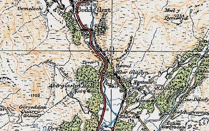 Old map of Aberglaslyn Hall in 1922