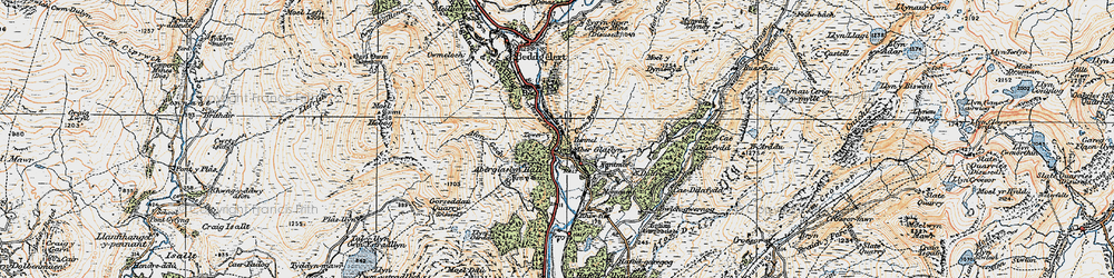 Old map of Pass of Aberglaslyn in 1922