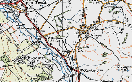 Old map of Abbots Bromley Cycle Way in 1921