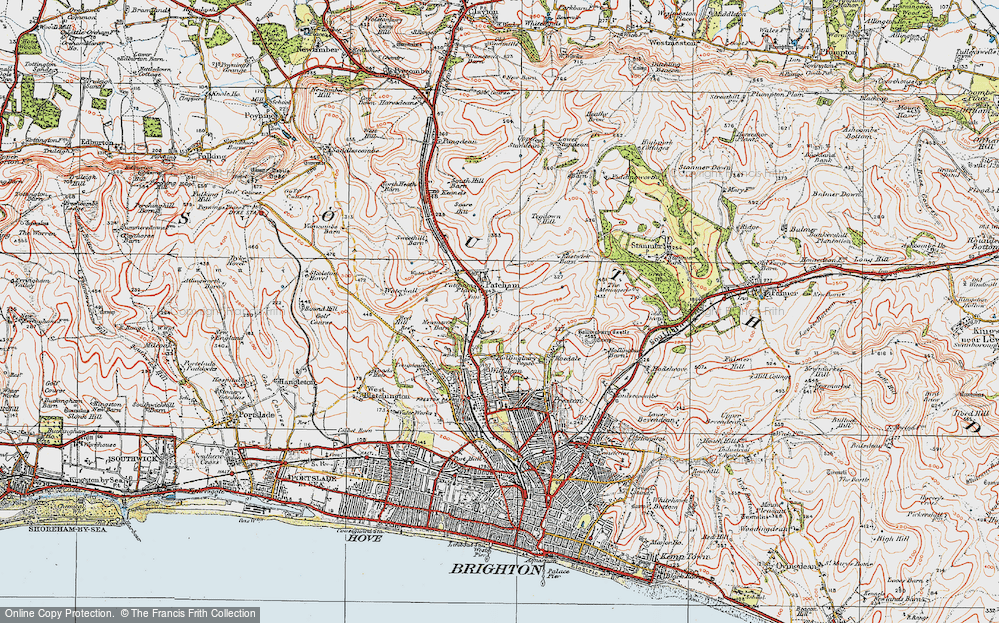 Old Map of Patcham, 1920 in 1920