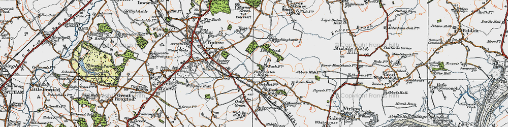 Old map of Layer Brook in 1921