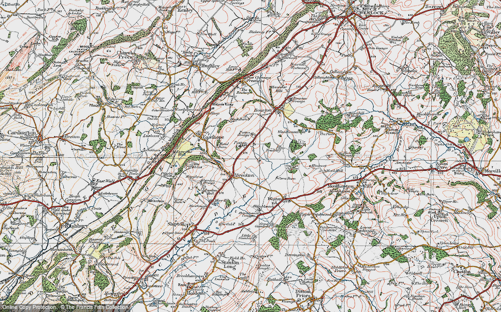Old Map of Historic Map covering Larden Cott in 1921