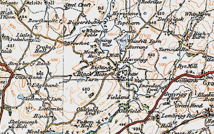 Old map of Whinfell Tarn in 1925