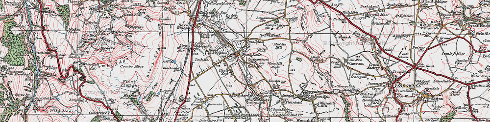 Old map of Wormhill Moor in 1923