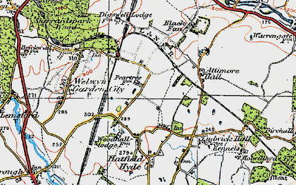 Old map of Peartree in 1920