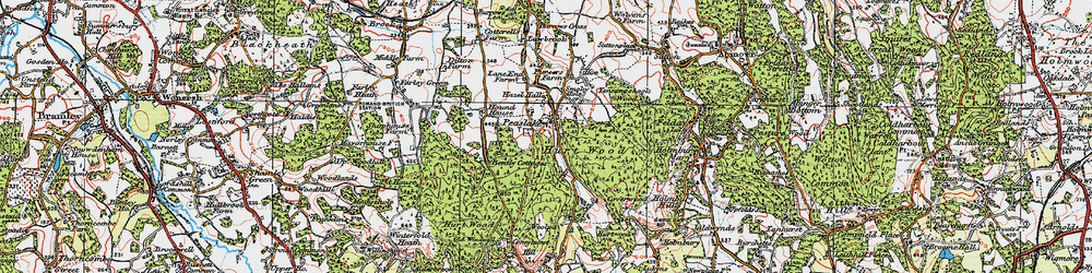 Old map of Winterfold Heath in 1920