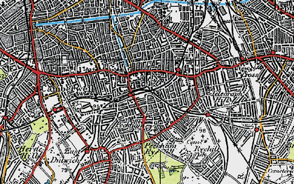 Old map of Peckham in 1920