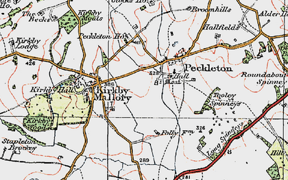 Old map of Tooley Spinneys in 1921