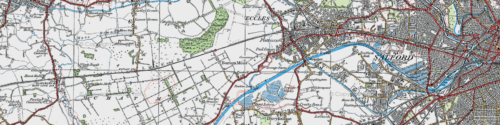 Old map of Peel Green in 1924