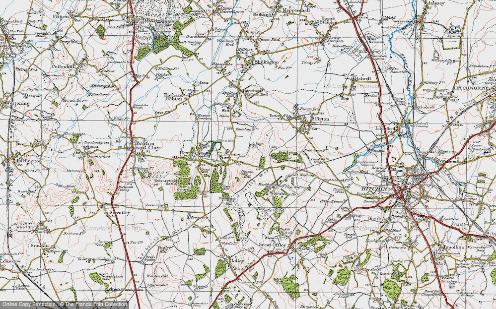 Old Map of Historic Map covering Tingley Wood in 1919