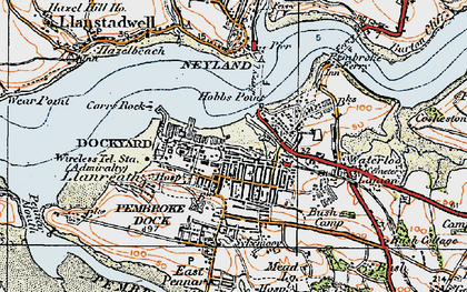 Old map of Pembroke Dock in 1922