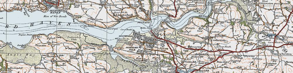 Old map of Pembroke Dock in 1922