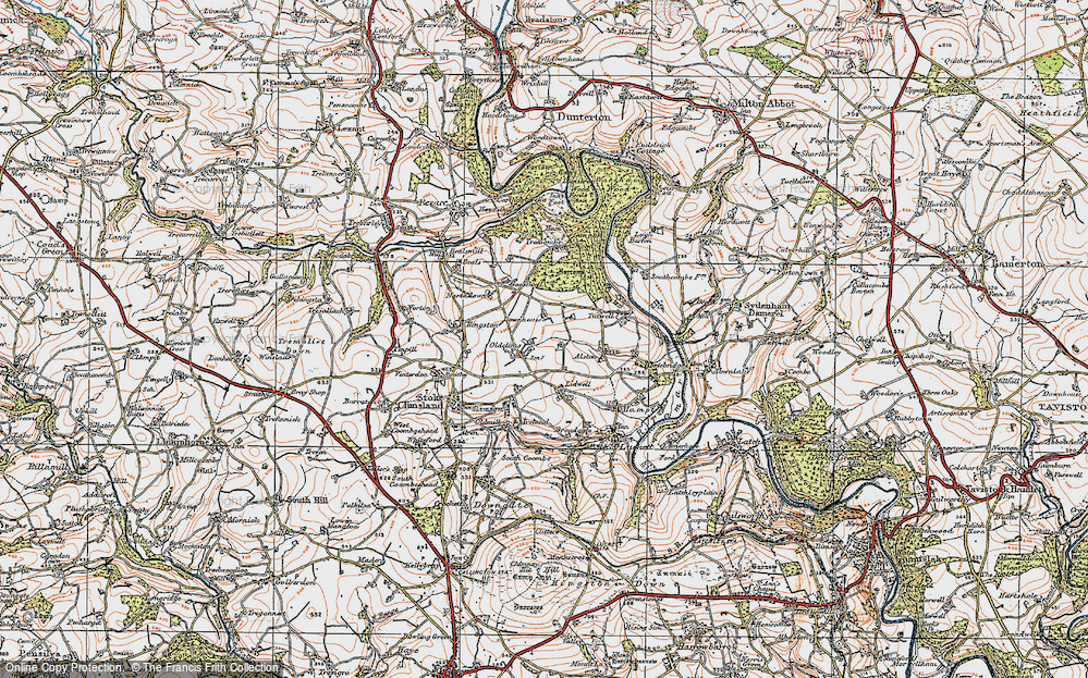 Old Map of Historic Map covering Lidwell in 1919