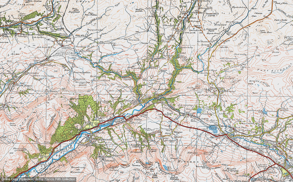 Old Map of Historic Map covering Afon Pyrddin in 1923