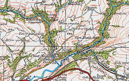 Old map of Afon Pyrddin in 1923