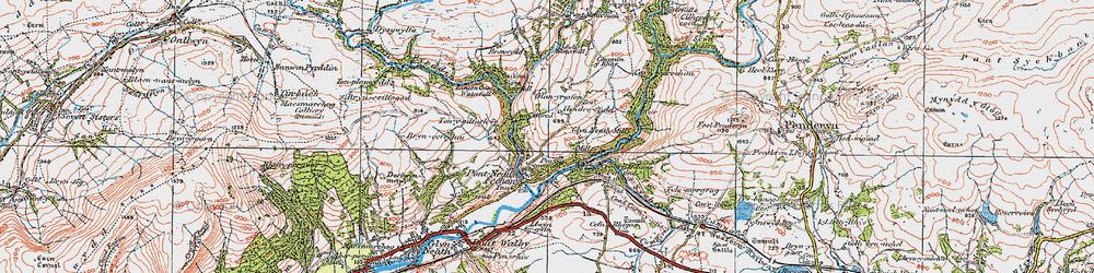 Old map of Afon Pyrddin in 1923
