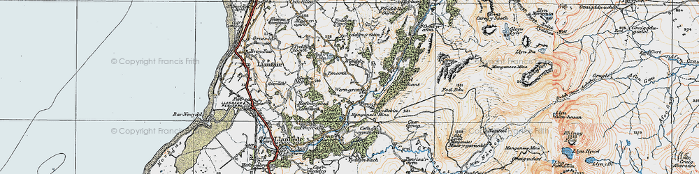 Old map of Afon Cwmnantcol in 1922