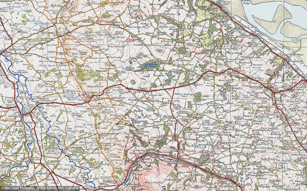 Old Map of Historic Map covering Rhos in 1924