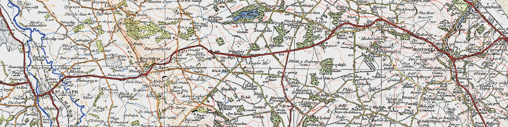 Old map of Rhos in 1924
