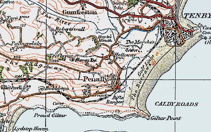 Old map of Penally in 1922