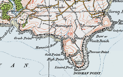 Old map of Penare in 1919