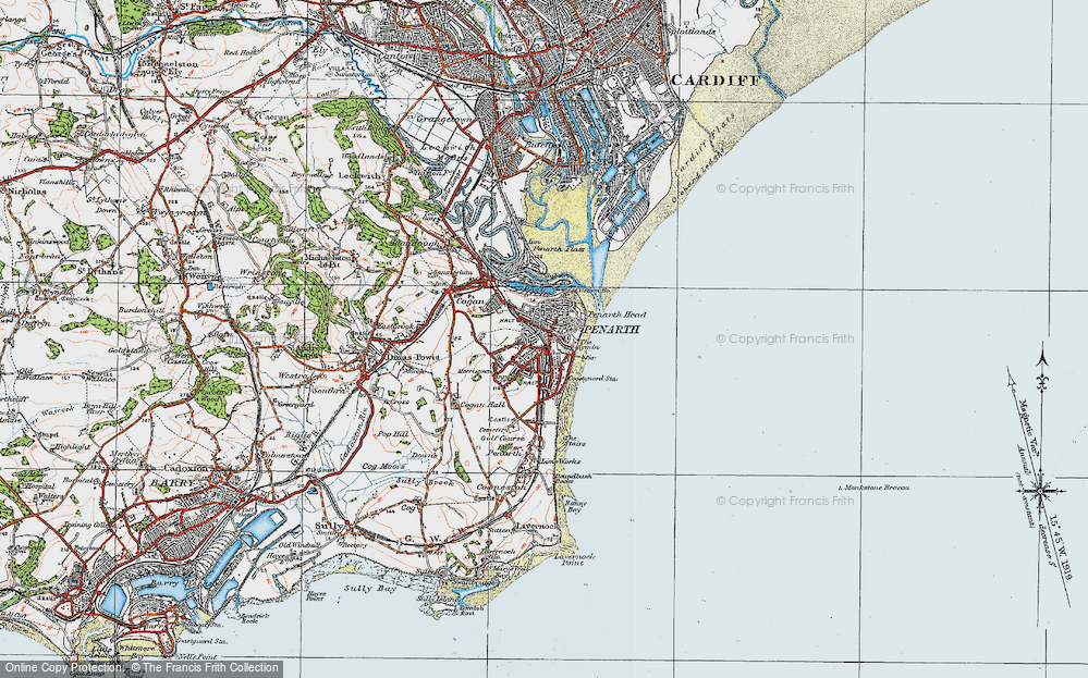 Old Map of Penarth, 1919 in 1919