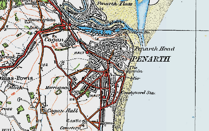 Old map of Penarth in 1919