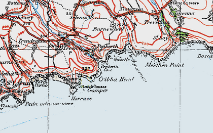 Old map of Penberth in 1919