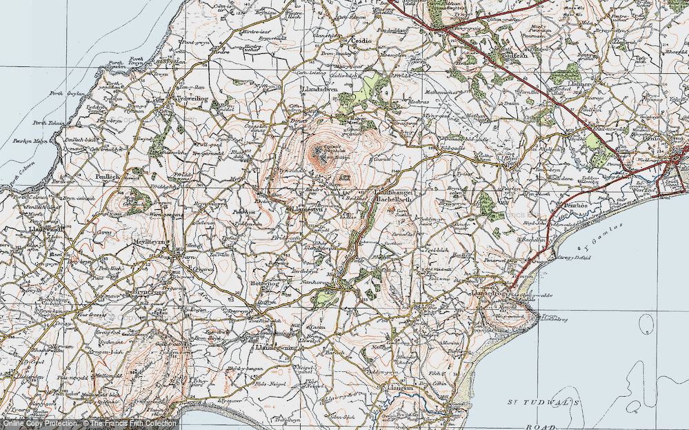 Old Map of Historic Map covering Afon Horon in 1922