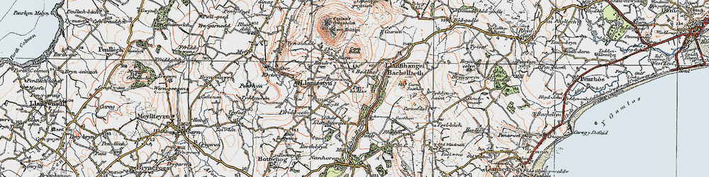 Old map of Afon Horon in 1922