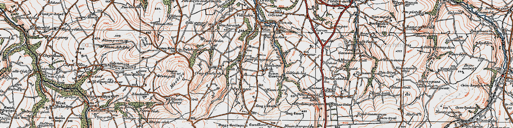 Old map of Tomenlawddog in 1923