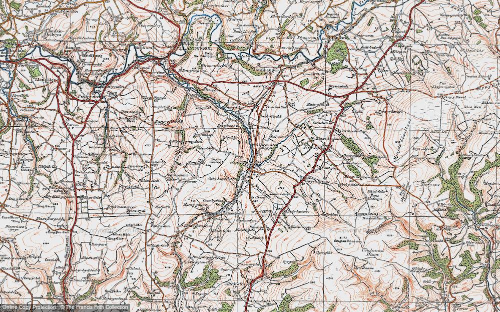 Old Map of Historic Map covering Afon Talog in 1923