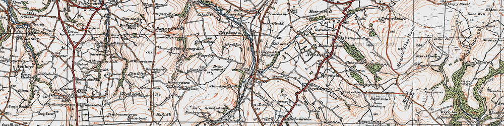 Old map of Afon Talog in 1923