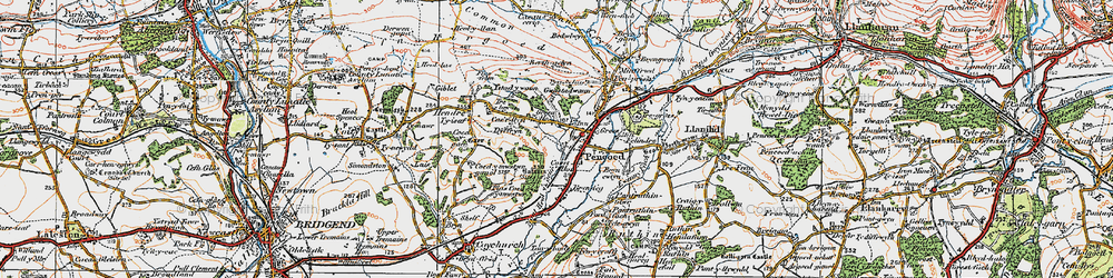 Old map of Pencoed in 1922
