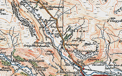 Old map of Afon Disgynfa in 1921