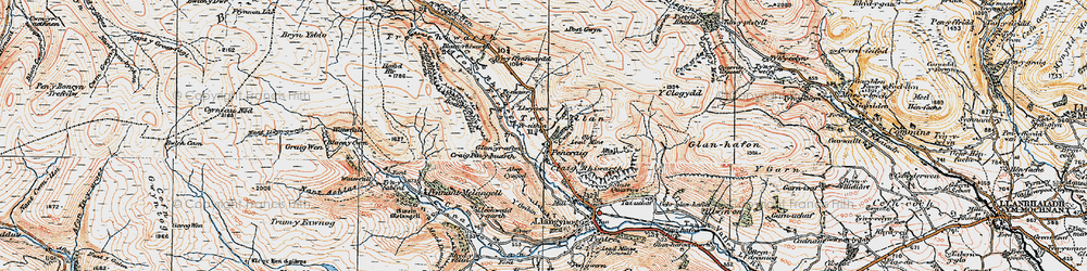 Old map of Afon Tanat in 1921