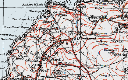 Old map of Pendeen in 1919