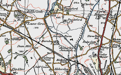 Old map of Autherley Junction in 1921