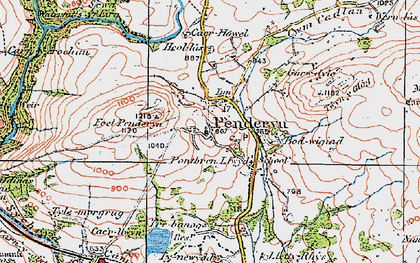 Old map of Afon Hepste in 1923